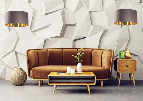 Leather round chandelier 60W E27 dark beige, gold, upholstered