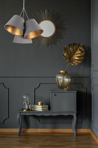 Triple BUCKET E27 40W lamp gray / gold adjustable height