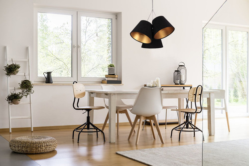 Triple pendant lamp for the kitchen BUCKET E27 60W black / gold