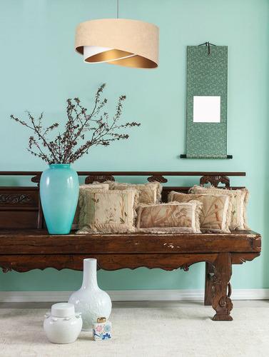 Asymmetrical hanging lamp Elegance 60W E27 velor fabric, beige / white / gold