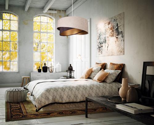 Hanging lamp Elegance 60W E27 asymmetrical beige / brown