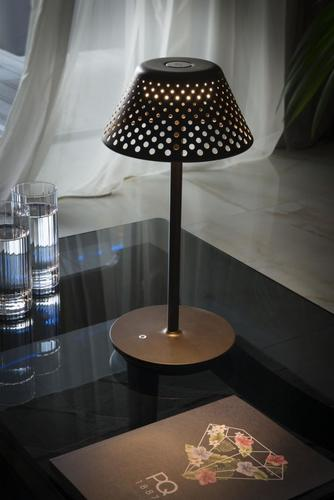 MESH Platek Led - table lamp with USB port - brown 4000K