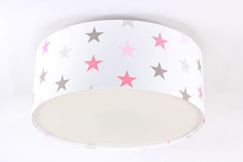 Lamp for a child - Plafond Luminance E27 60W LED stars, pink, gray