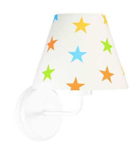 Wall lamp for children Raggio E27 60W wood / metal, colorful stars