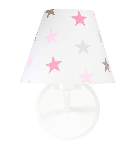Wall lamp for a girl's room Raggio E27 60W gray and pink stars
