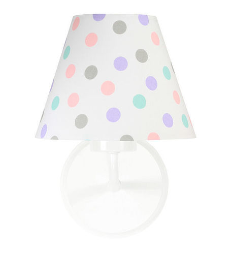 White wall lamp Raggio E27 60W for a child's room, dots