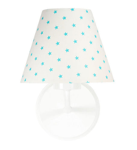 Bedside lamp, wall lamp for children Raggio E27 60W white / turquoise small stars