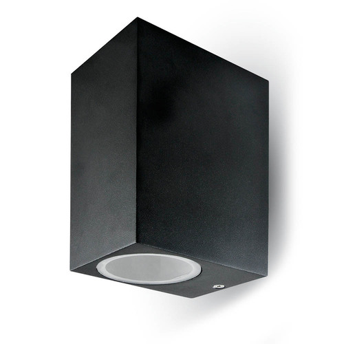 Garden Wall Lamp V-TAC GU10 Aluminum Square Black Top / Bottom IP44 VT-7652