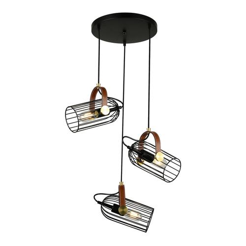 Black Antoin E27 Hanging Lamp, 3-bulb