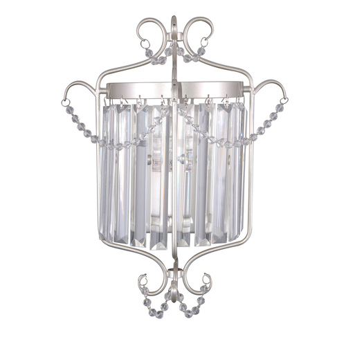 Classic Silver Wall Lamp with Rinaldo E14 Crystals