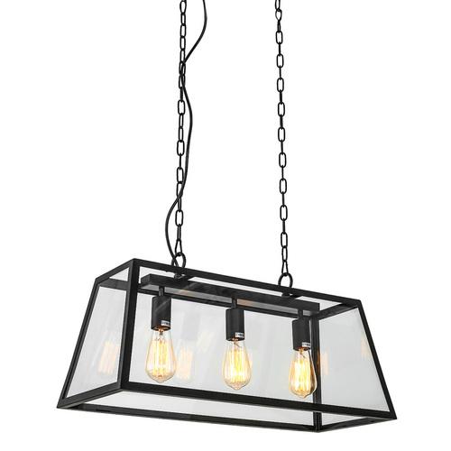 Black Hanging Lamp Laverno E27 3-bulb