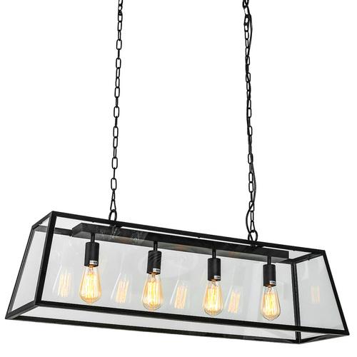 Black Hanging Lamp Laverno E27 4-bulb