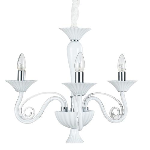 Modern White Verona E14 Chandelier, 3-bulb