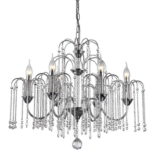 Classic Hanging Lamp with Quin Crystals E14 6-bulb