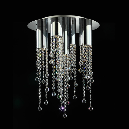 Classic Larix GU10 5-point ceiling lamp with crystals