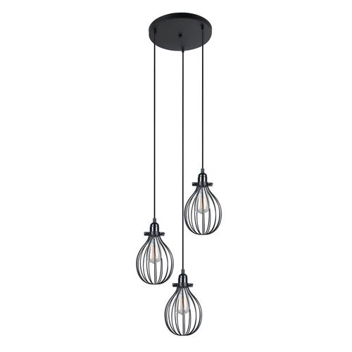Black Hanging Lamp Lesto E27, 3-bulb
