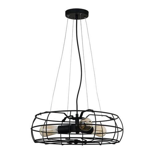 Black Rayo E27 Hanging Lamp 3-bulb