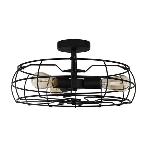 Black Rayo E27 3-point ceiling lamp