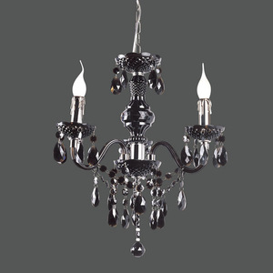 Black Classic Chandelier with Whiz E14 Crystals 3-bulb small 1