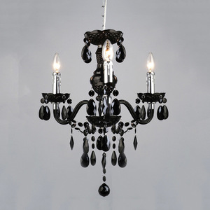 Black Classic Chandelier with Whiz E14 Crystals 3-bulb small 0