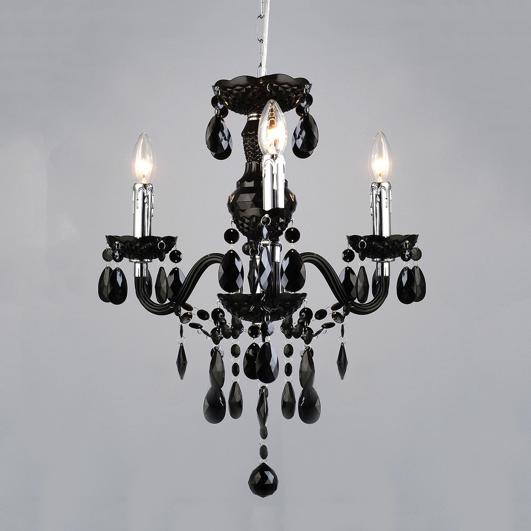 Black Classic Chandelier with Whiz E14 Crystals 3-bulb