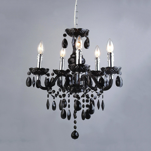Classic Black Chandelier with Whiz E14 Crystals 5-bulb