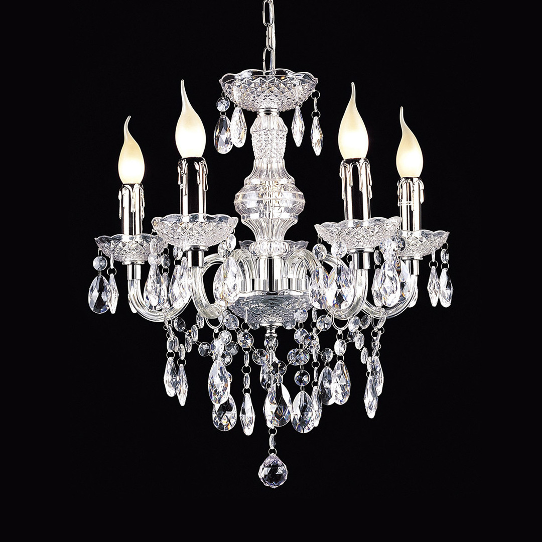 Classic Chandelier with Whiz E14 Crystals, 5-bulb
