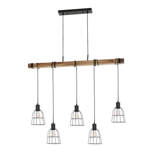 Black Ponte E27 Hanging Lamp, 5-bulb