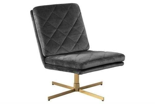 ACTONA swivel armchair CARRERA dark gray - velor, golden base