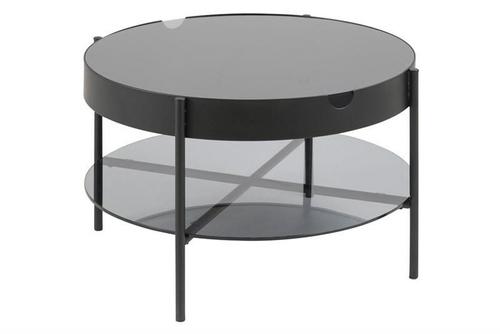 ACTONA glass table TIPTON L black - glass, metal