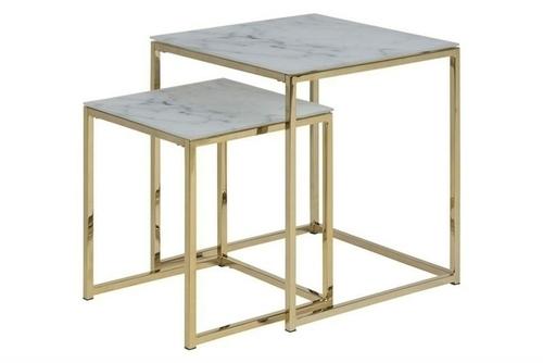 ACTONA table set ALISMA marble - glass, metal