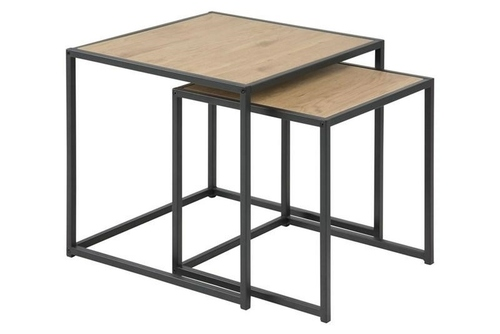 ACTONA SEAFORD table set, oak - MDF, metal