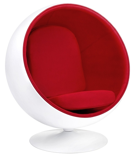BALL white and red armchair - glass fiber, wool