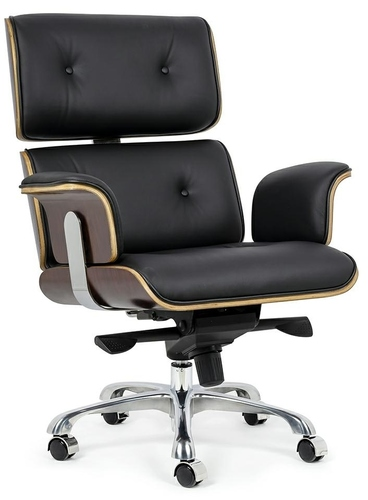 Office chair LOUNGE BUSINESS black - rose plywood, natural leather, polished steel