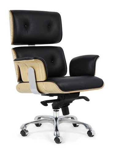 Office chair LOUNGE BUSINESS black - ash plywood, natural leather, polished steel