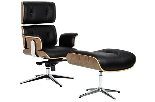 Office chair LOUNGE BUSINESS black with a footrest - plywood, natural leather, polished steel