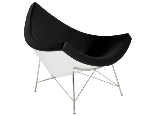 COCONUT black and white armchair - natural leather, fiberglass