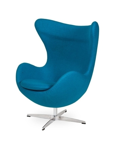 Armchair EGG CLASSIC dark turquoise.16 - wool, aluminum base
