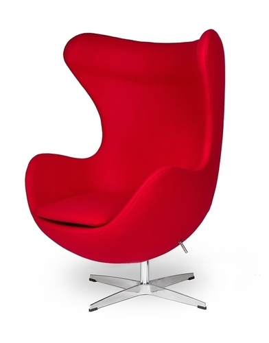 EGG CLASSIC red 17 armchair - wool, aluminum base