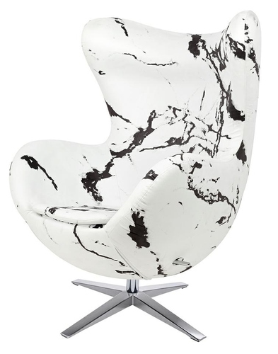 EGG WIDE MARBLE armchair - fabric, steel base
