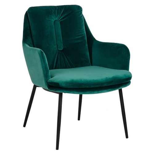 GRANT LOUNGE green armchair - velor, black and gold base