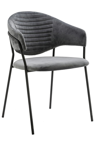 NAOMI dark gray armchair - velor, black base