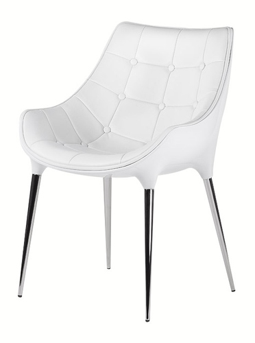 PASSION white armchair, eco-leather - glass fiber, chrome base