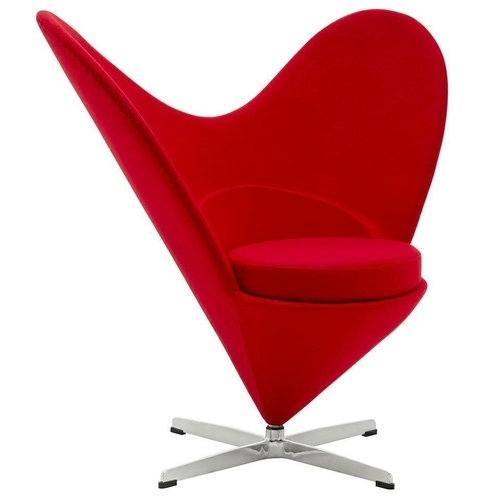 RED HEART armchair - fiberglass, wool, aluminum base