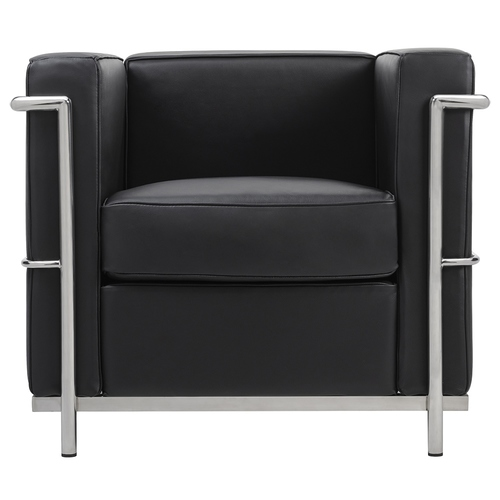 Black SOFT LC2 armchair - Italian natural leather, chrome