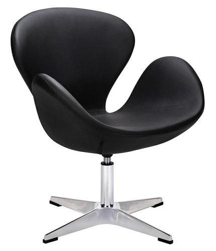 SWAN SILVER EKO black armchair - eco-leather, polished steel