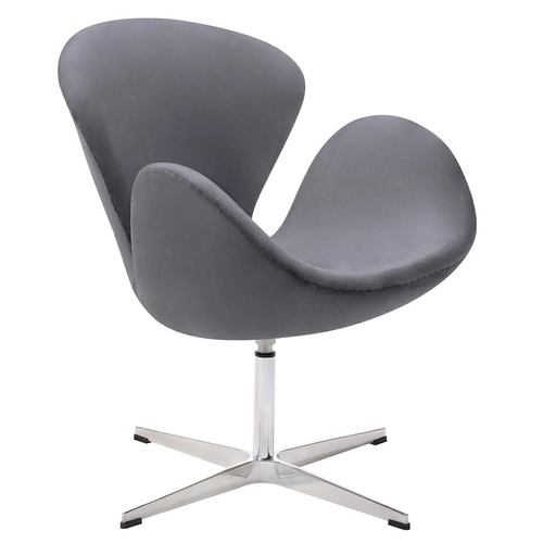 SWAN VELVET PREMIUM dark gray armchair - velor, steel base