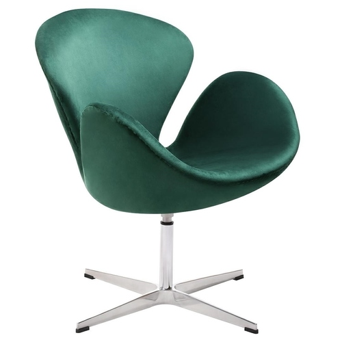 SWAN VELVET PREMIUM dark green armchair - velor, steel base