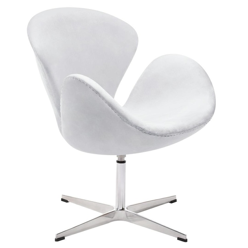 SWAN VELVET PREMIUM light gray armchair - velor, steel base