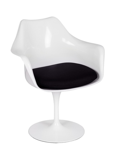 TULIP white armchair with a black cushion - ABS, metal base